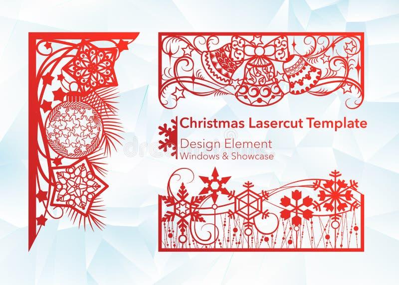 Дизайн вырезывания лазера на рождество и Новый Год Набор шаблона угла и горизонтальных элементов для создания праздничного иллюстрация штока