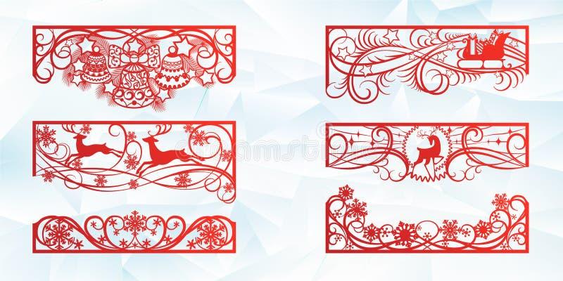Дизайн вырезывания лазера на рождество и Новый Год Отрезок силуэта Набор шаблона угла и горизонтальных элементов к иллюстрация вектора