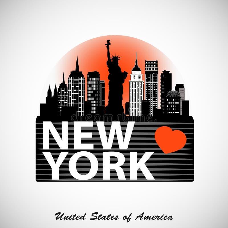 Дизайн горизонта Нью-Йорка ночи Детальный силуэт города иллюстрация вектора