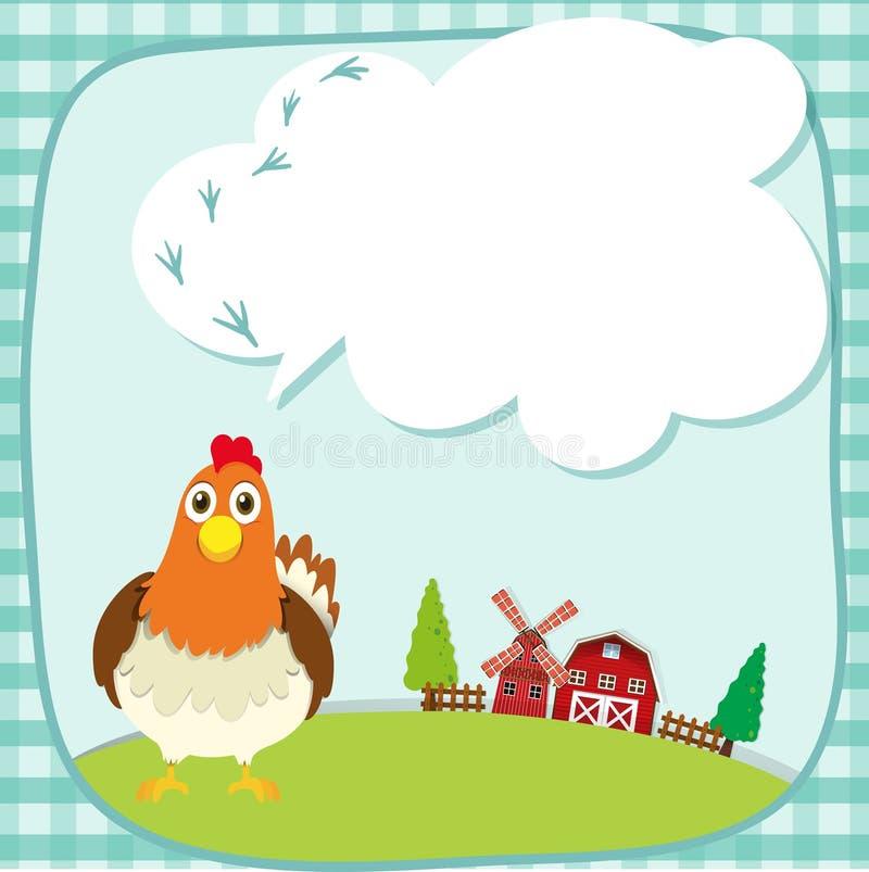 Дизайн границы с цыпленком на ферме бесплатная иллюстрация