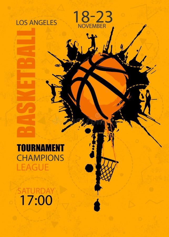 Дизайн для баскетбола Плакат для турнира иллюстрация вектора
