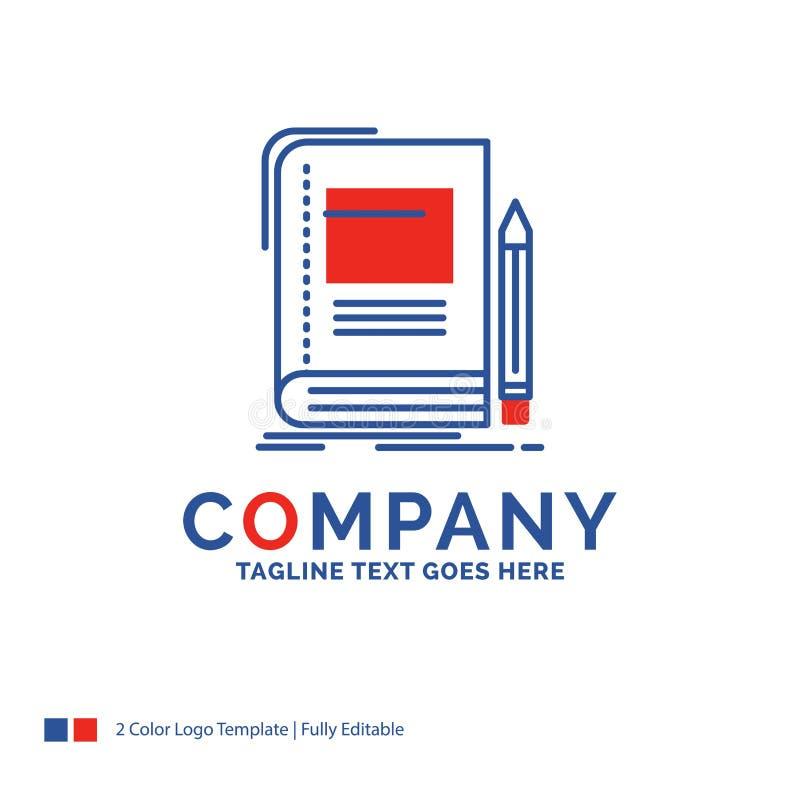Дизайн для книги, дело логотипа названия фирмы, образование, тетрадь иллюстрация штока