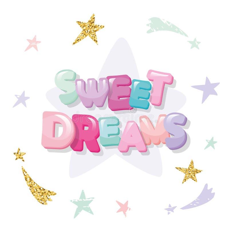 Дизайн для пижам, sleepwear сладостных мечт милый, футболки Письма и звезды шаржа в пастельных цветах с ярким блеском иллюстрация штока