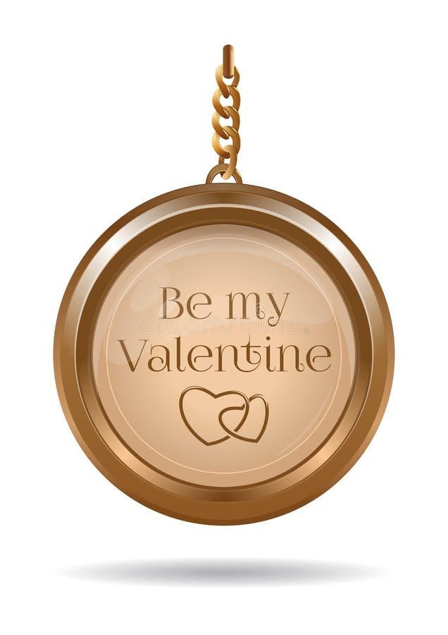 Дизайн дня Святого Валентина с locket золота на цепи иллюстрация штока
