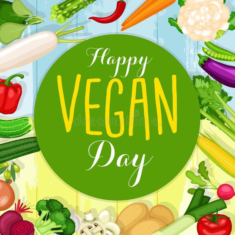 Дизайн дня vegan мира иллюстрация вектора