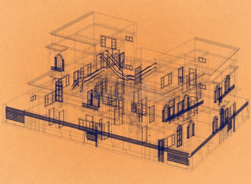 Дизайн дома - ретро светокопия архитектора иллюстрация штока