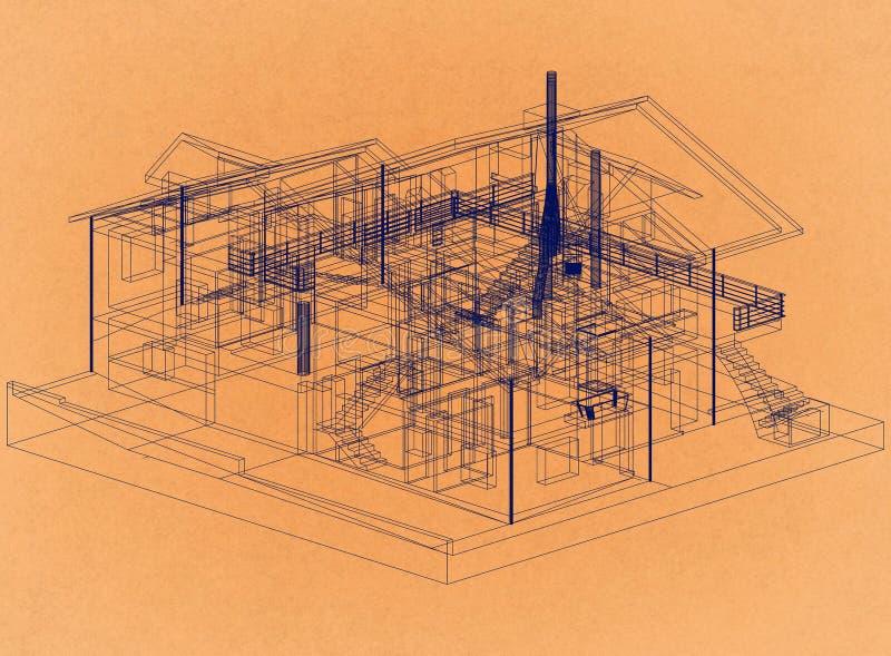 Дизайн дома - ретро светокопия архитектора бесплатная иллюстрация