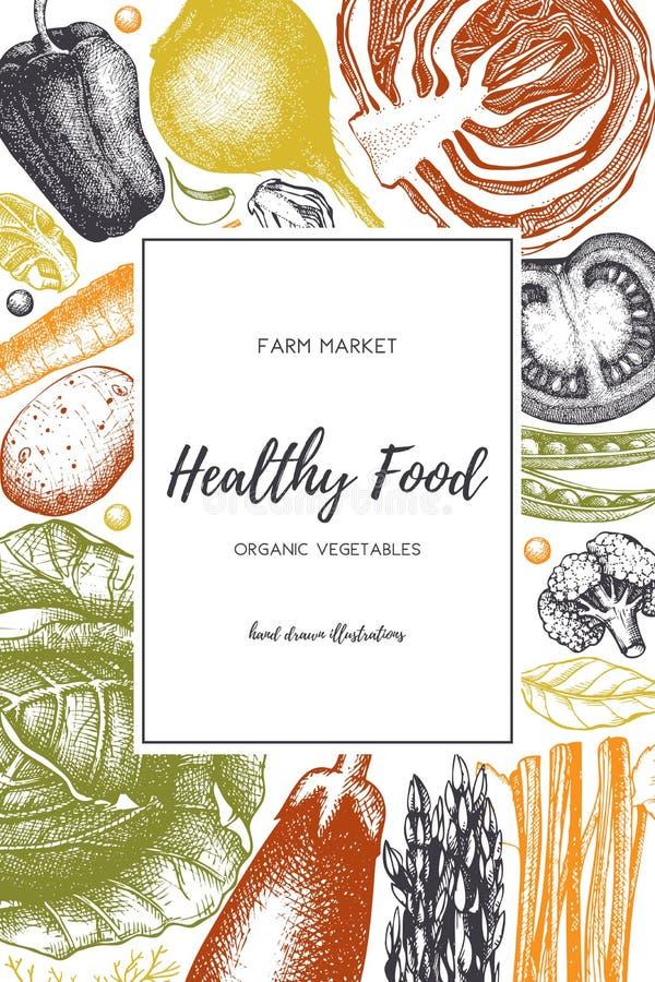 Дизайн еды Eco с эскизом овощей руки вычерченным Органическая рамка продуктов Шаблон вектора с винтажной иллюстрацией сбора излеч бесплатная иллюстрация