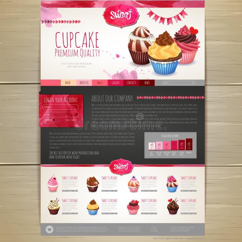 Дизайн десерта пирожного акварели вектор шаблона корпоративной тождественности дела произведений искысства Дизайн вебсайта бесплатная иллюстрация