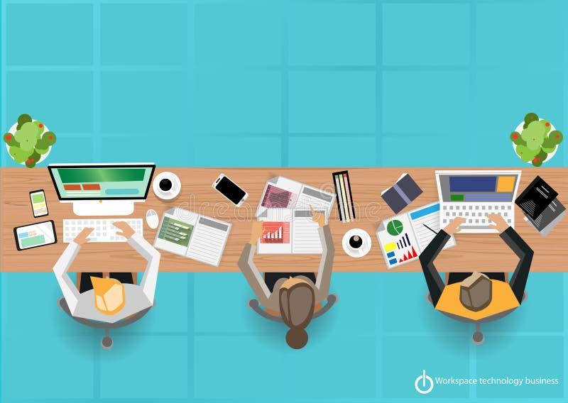 Дизайн дела технологии места работ вектора плоский иллюстрация штока