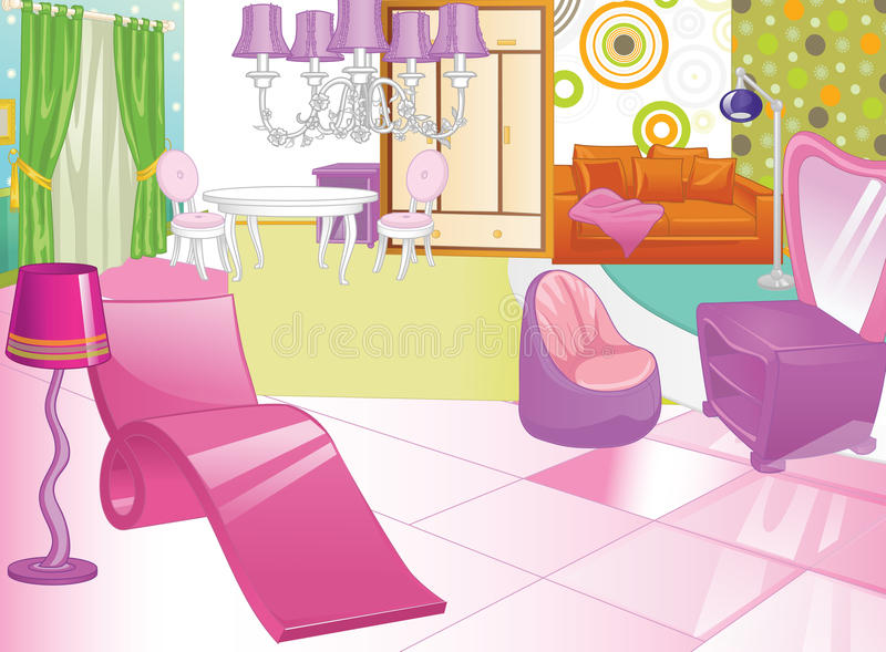 Дизайн женского будуара ванная комната одевая таблицу зеркала Комната женщин s иллюстрация штока
