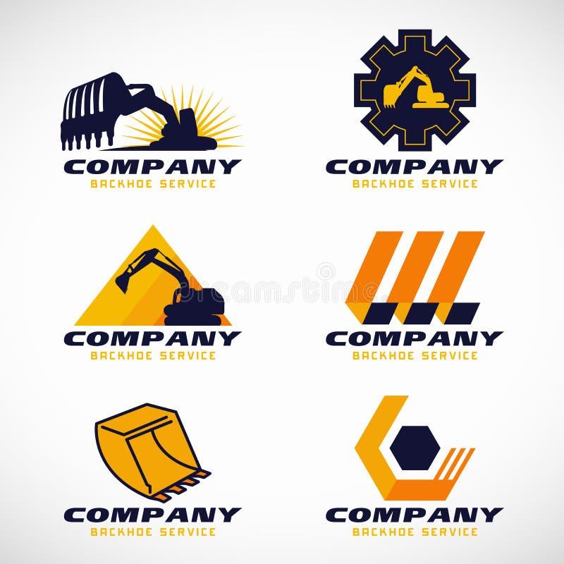Дизайн желтого и синего вектора логотипа обслуживания Backhoe установленный иллюстрация вектора