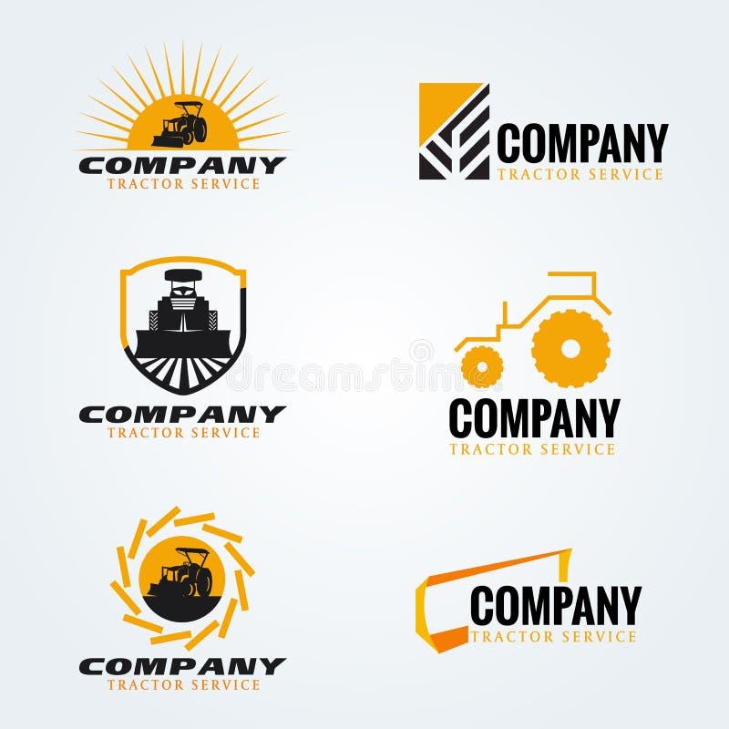 Дизайн желтого и черного вектора логотипа трактора установленный иллюстрация штока