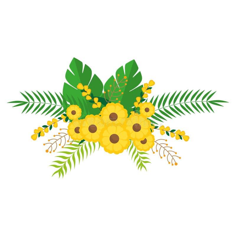 Дизайн желтого пука цветков флористический с листьями бесплатная иллюстрация
