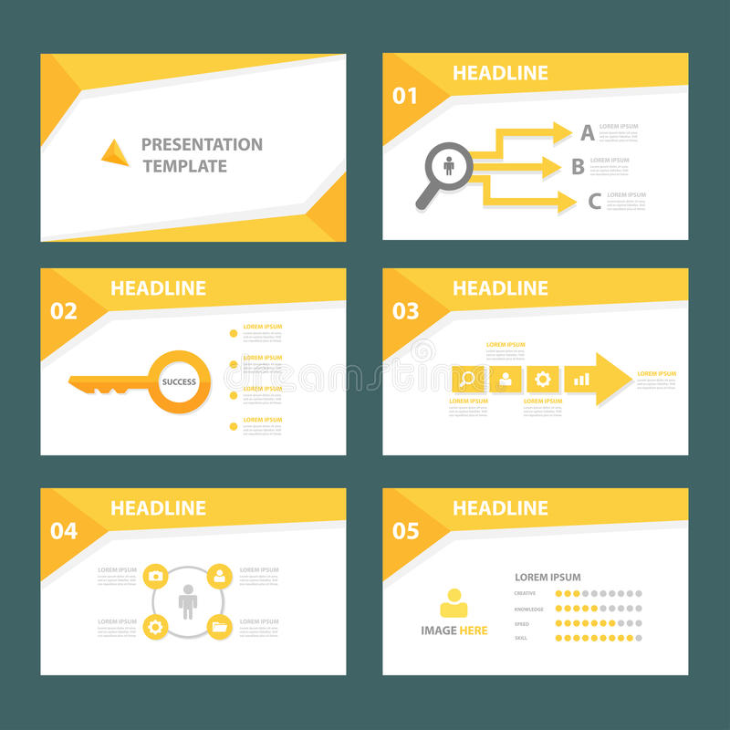 Дизайн желтого универсального infographic элемента плоский установил для представления иллюстрация штока