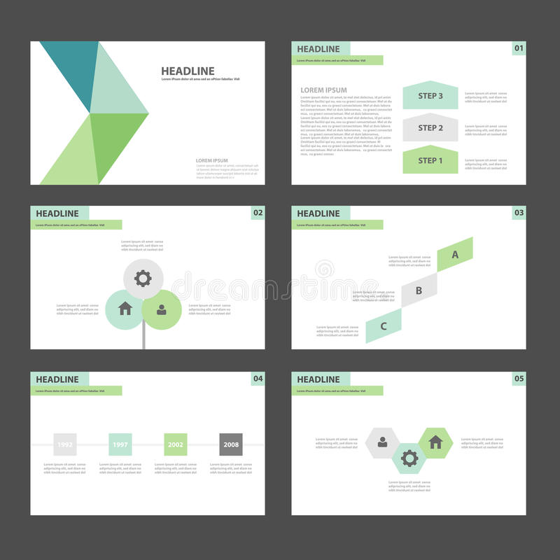 Дизайн зеленого и голубого шаблона представления значка элементов Infographic плоский установил для рекламировать рогульку брошюр иллюстрация штока
