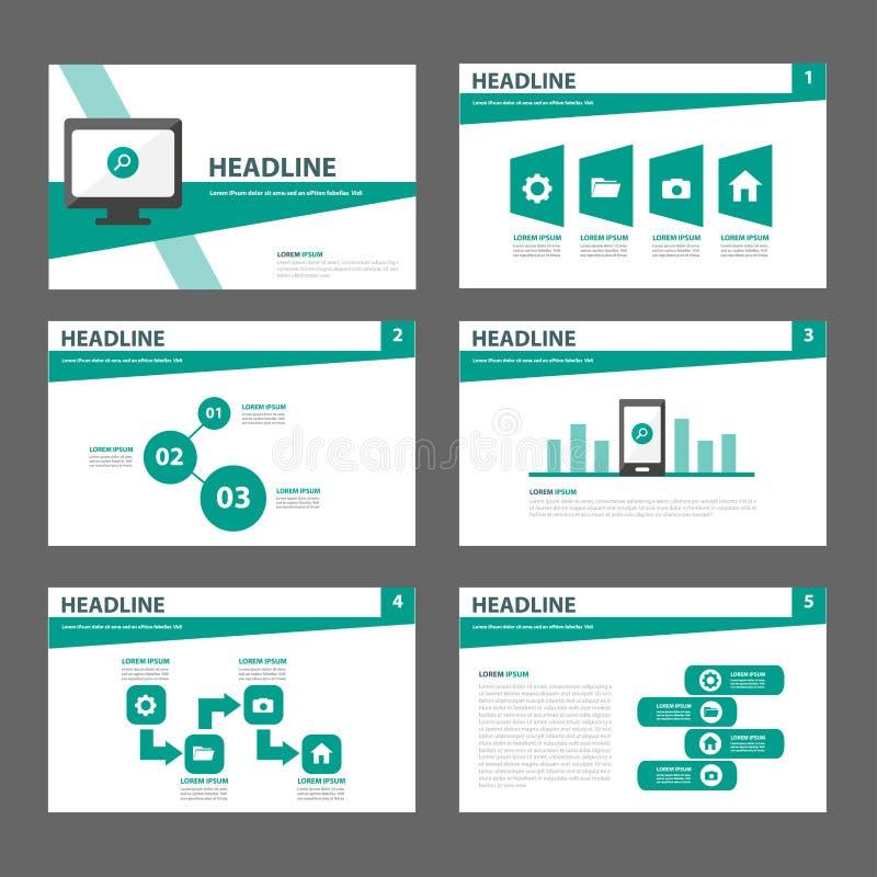 Дизайн зеленого универсального шаблона вебсайта листовки рогульки брошюры плоский иллюстрация вектора