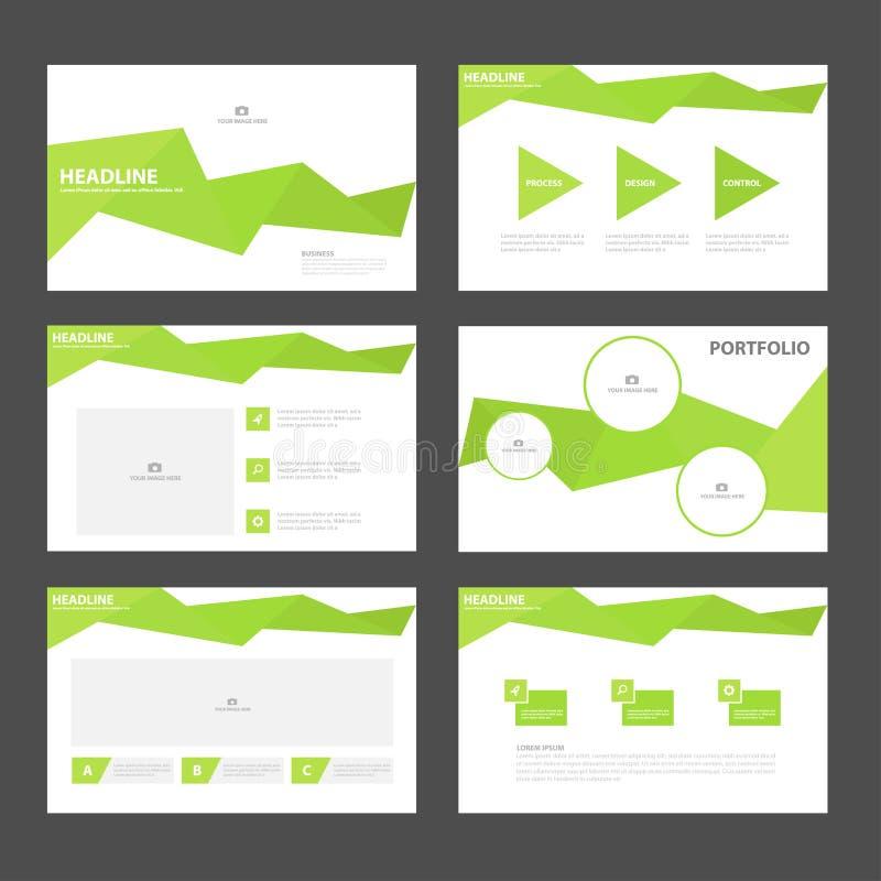 Дизайн зеленых элементов Infographic шаблонов представления полигона плоский установил для маркетинга листовки рогульки брошюры иллюстрация вектора