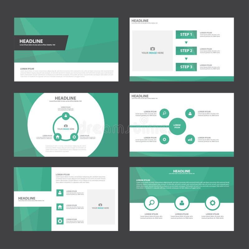 Дизайн зеленых элементов Infographic шаблонов представления плоский установил для маркетинга листовки рогульки брошюры иллюстрация штока