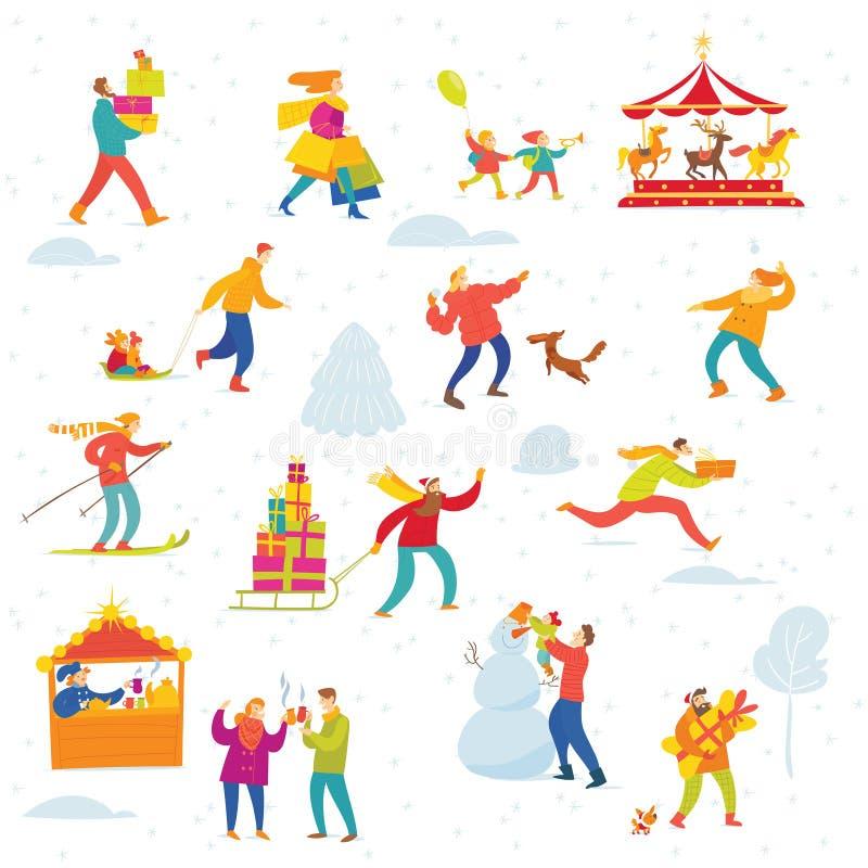 Дизайн зимы рождества вектора для рынка праздника с ходить по магазинам и активные людьми иллюстрация штока