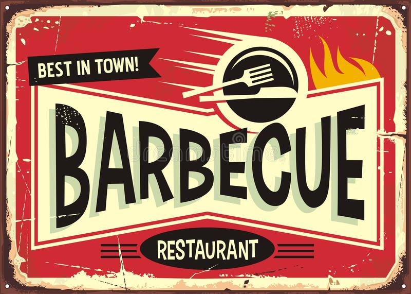 Дизайн знака барбекю ретро для ресторана фаст-фуда иллюстрация штока