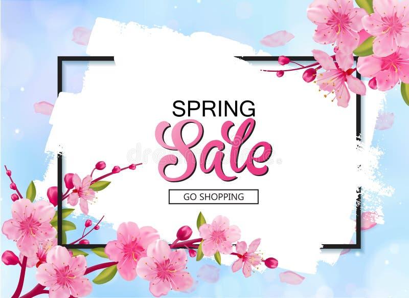 Дизайн знамени вектора продажи весны с цветками и рамкой Вишневые цвета и предпосылка голубого неба иллюстрация штока