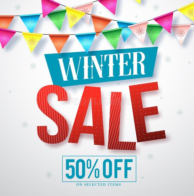 Дизайн знамени вектора продажи зимы для продвижений с висеть красочные ленты иллюстрация штока