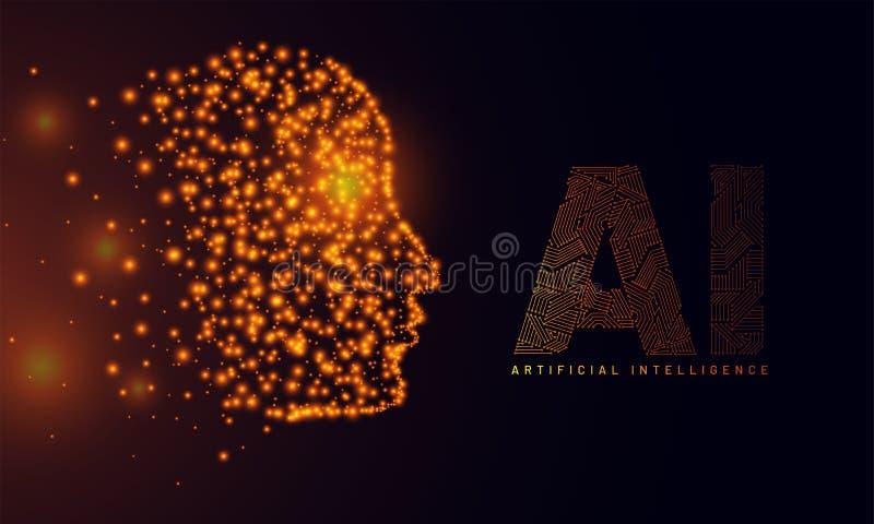Дизайн знамени героя вебсайта, иллюстрация человеческого лица сделанная g иллюстрация штока