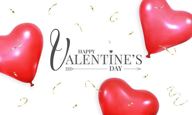 Дизайн знамени дня Святого Валентина, с воздушными шарами гелия реалистической формы сердца красными и confetti золота иллюстрация вектора