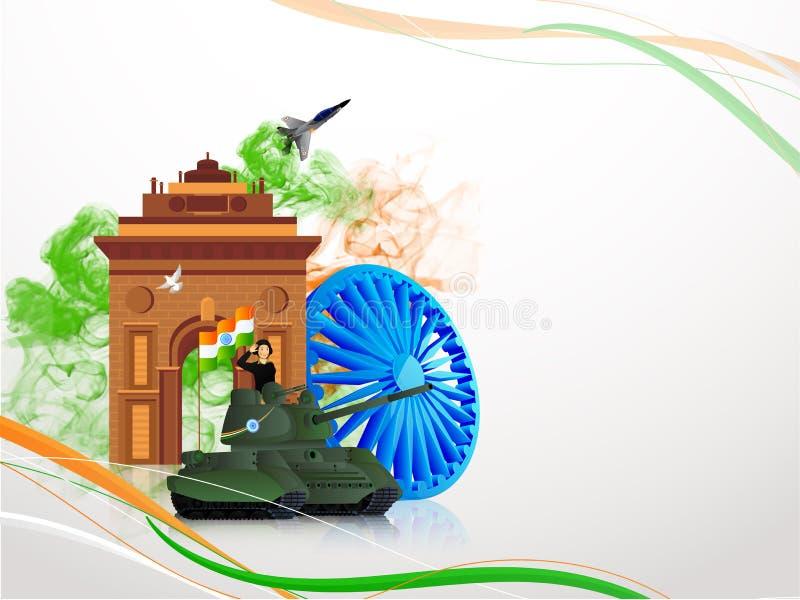 Дизайн знамени или плаката, салютуя офицер армии на военном танке перед воротами Индии с колесом Ashok на день республики иллюстрация штока