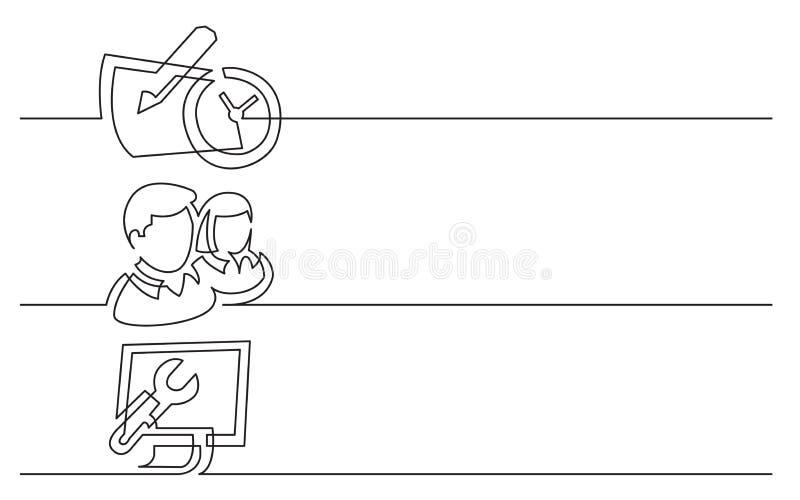 Дизайн знамени - непрерывная линия чертеж значков дела: календарь с часами, людьми значком, панелью компьютерного управления иллюстрация штока