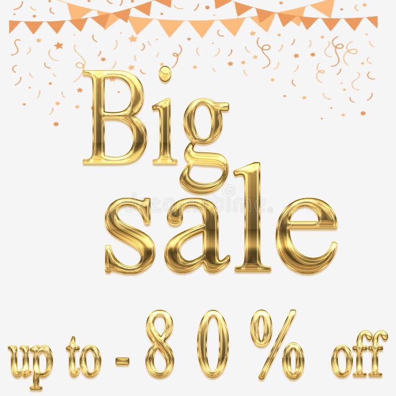 Дизайн знамени самой большой распродажи на выходных яркий, иллюстрация -80% вектора иллюстрация штока