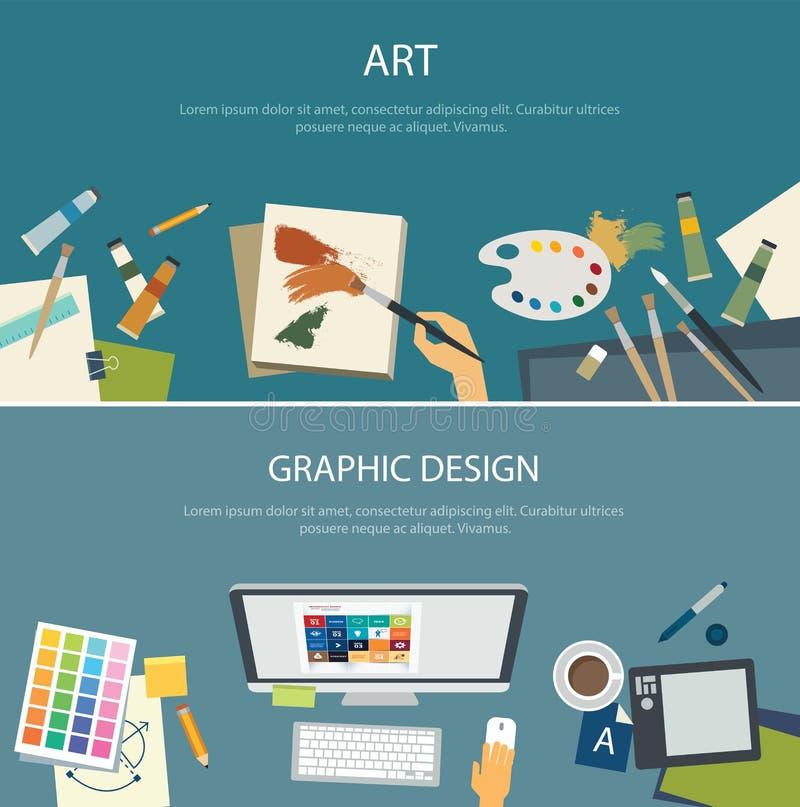 Дизайн знамени сети образования и графического дизайна искусства плоский