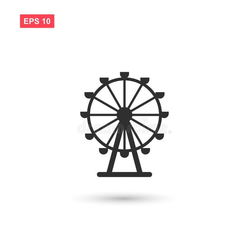 Дизайн значка вектора колеса Ferris изолировал 2 иллюстрация штока