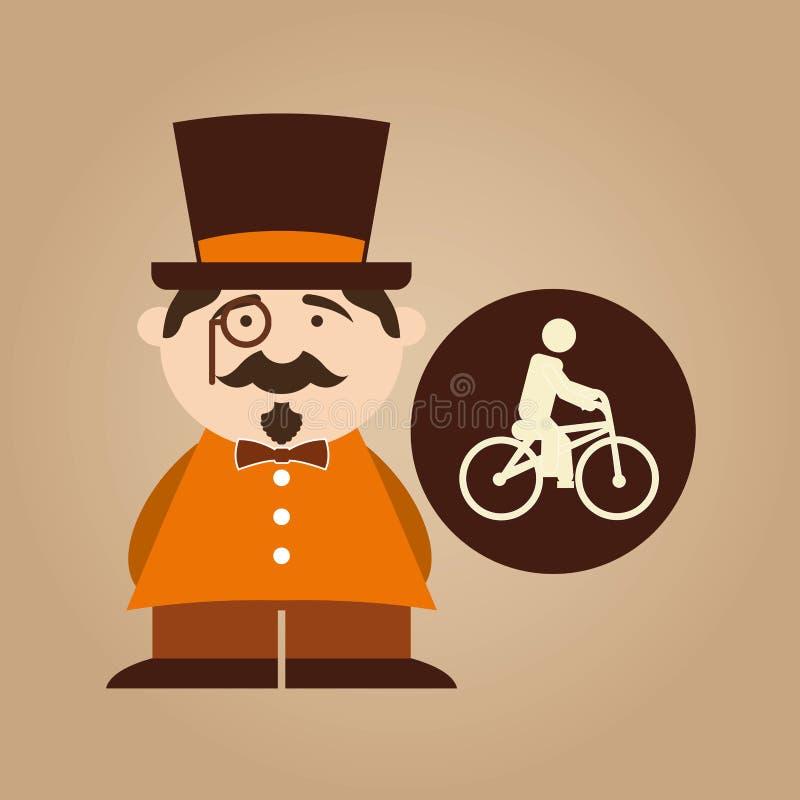 Дизайн значка велосипеда битника человека освобождая бесплатная иллюстрация