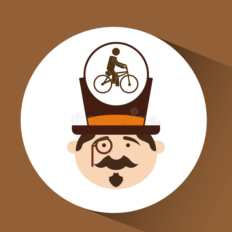 Дизайн значка велосипеда битника человека освобождая иллюстрация штока