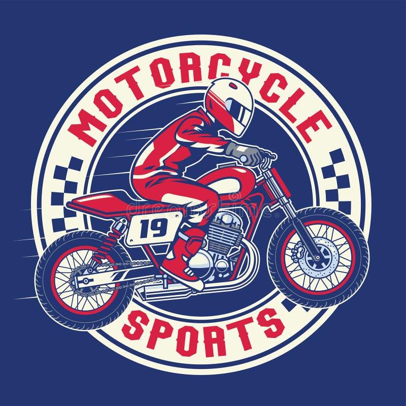 Дизайн значка гонок мотоцикла иллюстрация штока