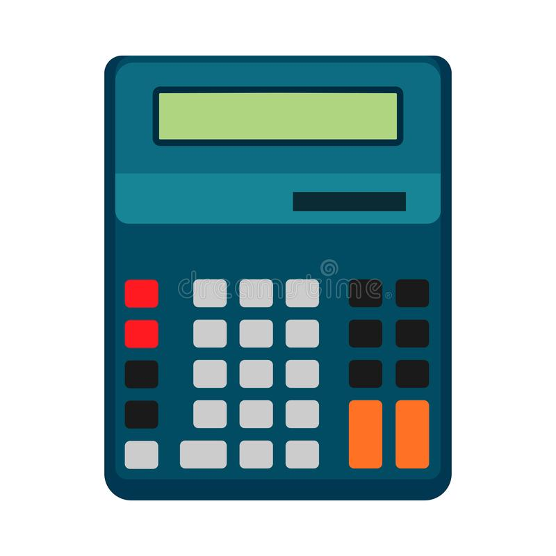 Дизайн значка иллюстрации вектора дела калькулятора изолировал Финансы знака дисплея кнопки Оборудование налога офиса плоское иллюстрация вектора