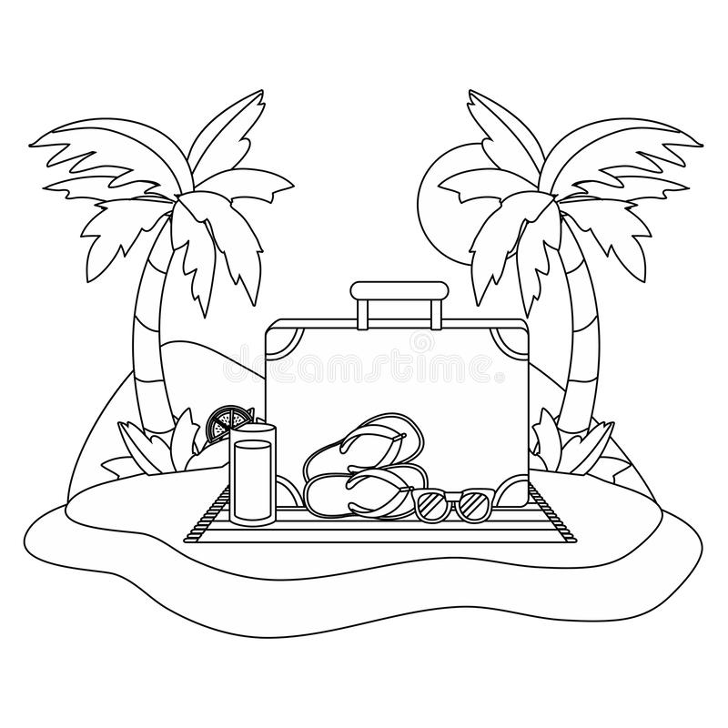 Дизайн значка лета и каникул установленный иллюстрация штока