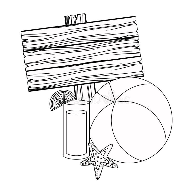 Дизайн значка лета и каникул установленный иллюстрация вектора