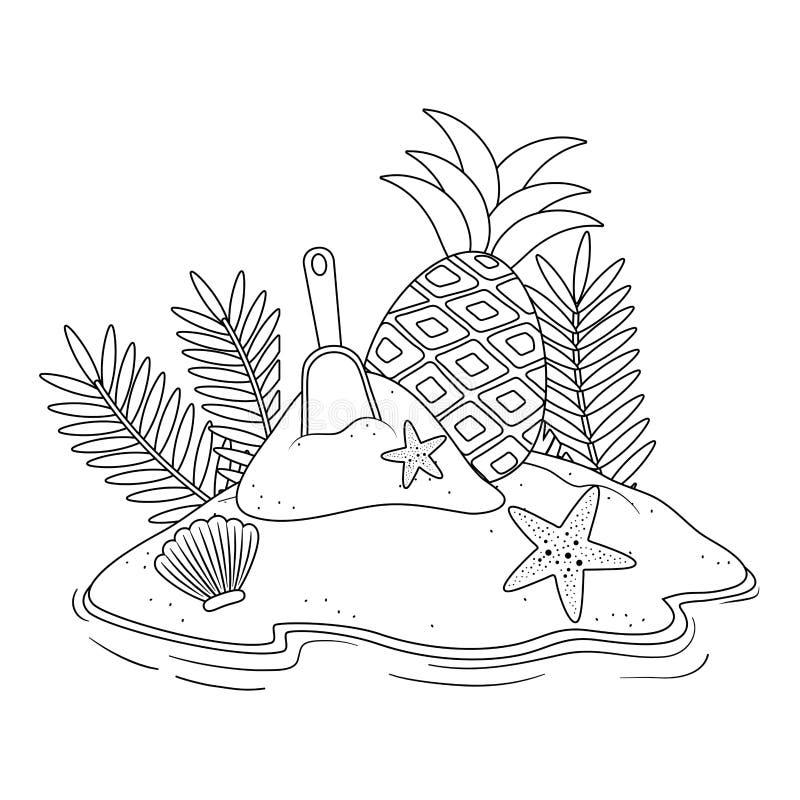 Дизайн значка лета и каникул установленный бесплатная иллюстрация