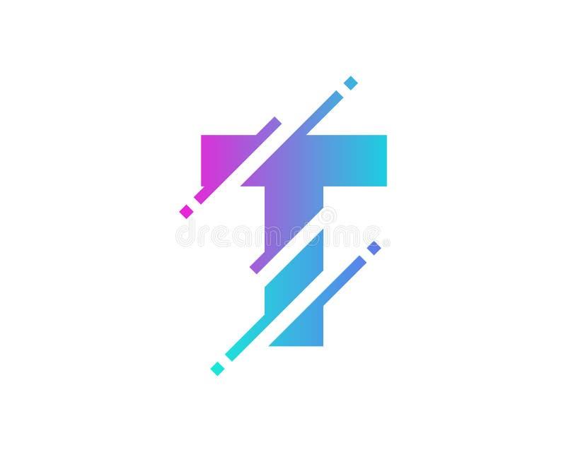 Дизайн значка логотипа пиксела письма t цифров иллюстрация штока