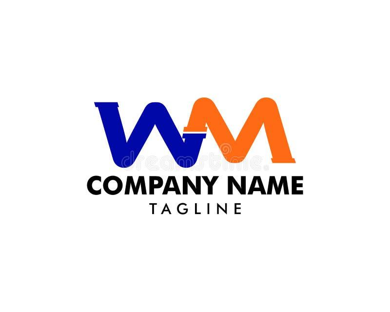 Дизайн значка логотипа письма трубы WM иллюстрация штока
