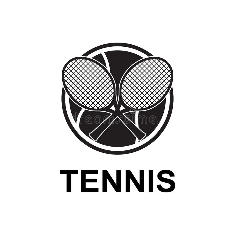 Дизайн значка логотипа спорта тенниса, шаблон значка бесплатная иллюстрация