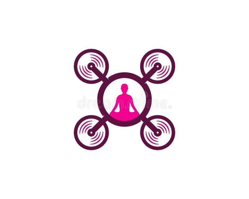 Дизайн значка логотипа трутня йоги бесплатная иллюстрация