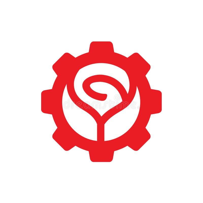 Дизайн значка логотипа цветка красной розы, совмещенный с шестерней, иллюстрация вектора иллюстрация штока
