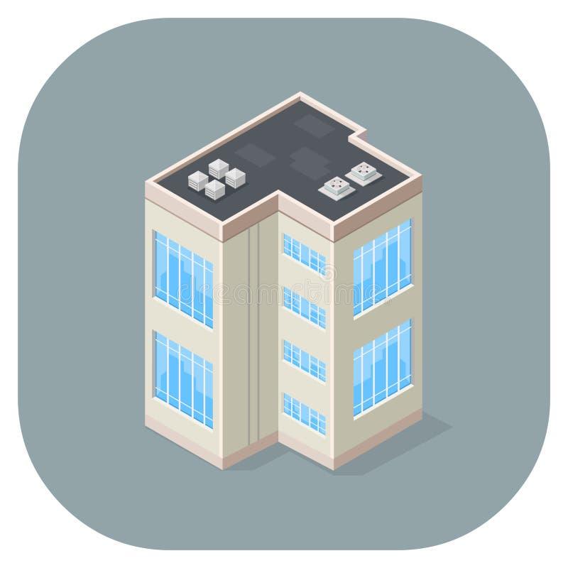 Дизайн значка равновеликого офисного здания иллюстрации вектора плоский бесплатная иллюстрация