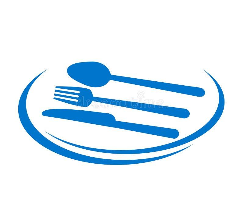 Дизайн значка ресторана вкусный ест с плитой, вилкой, ложкой и kni бесплатная иллюстрация