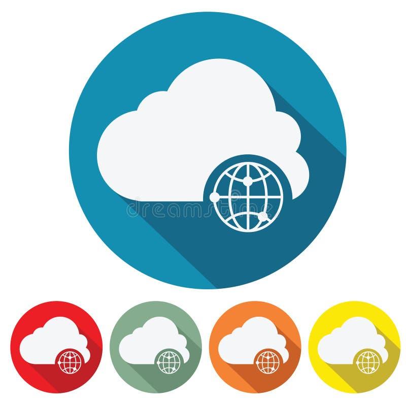 Дизайн значка сети облака хранения интернета плоский иллюстрация вектора