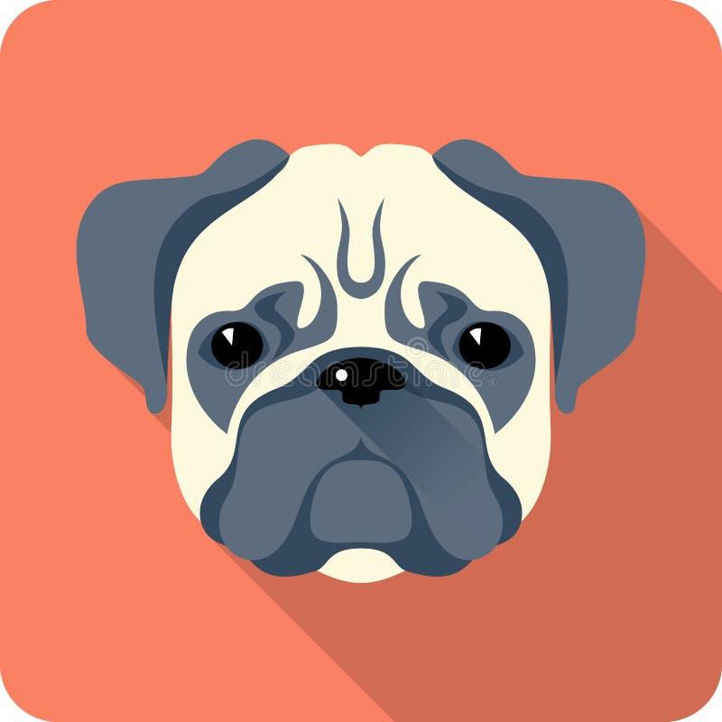 Дизайн значка собаки плоский иллюстрация вектора